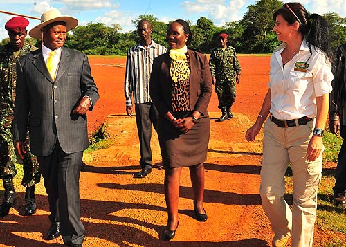 President Yoweri Museveni arriving at Chobe safari lodge hotel received by the General Manager Chobe safari Lodge Ms Kim Allen and front Manager Jennifer Makanga, DPC Nwoya District 2nd November for the Solar Eclipse