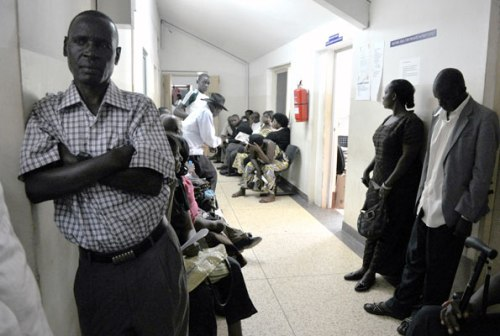 Patients wait to be attended to at the cancer ward in Mulago Hospital recently. A study has shown that long waiting hours are the common cause of dissatisfaction in government health centres.