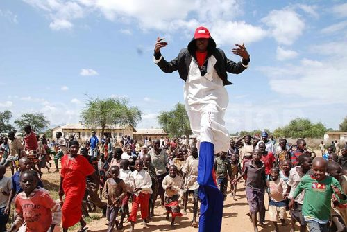 A man entertains the public at the laucnh of the anti-corruption campaign in Kotido district in Karamoja Sub-region.