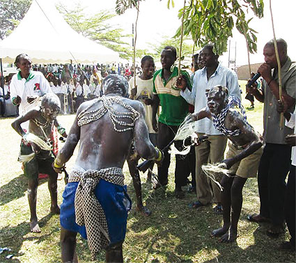 Imbalu candidates dancing as they prepare to undergo circumcision in Mbale recently