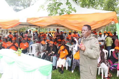 Rakai Resident District Commissioner (RDC), Charles Mubiru address the locals at the district headquarters.