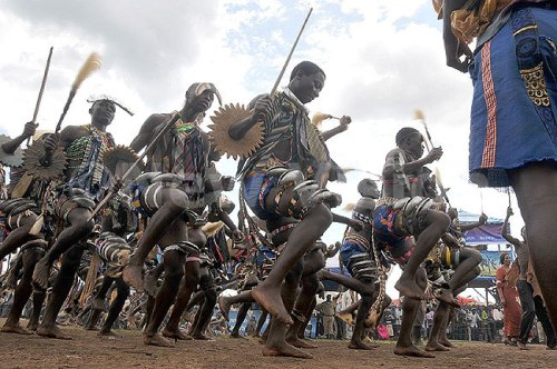 Sironko cultural group entertaining guests during at the festival inauguration at Mutoto cultural ground in Bulambuli district.