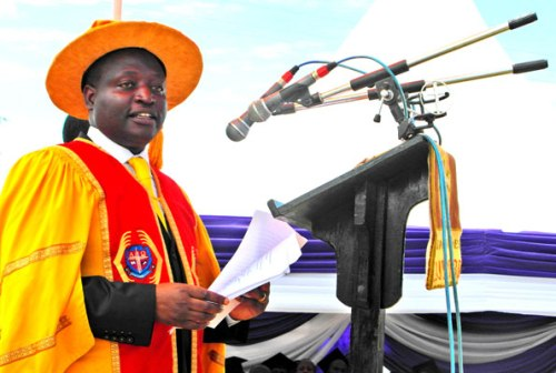 Ndorwa West MP David Bahati addresses graduands of Bishop Barham University College in Kabale Town on Friday.