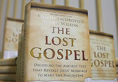 A picture shows a copy of the book The Lost Gospel at the official launch press conference in London on Wednesday