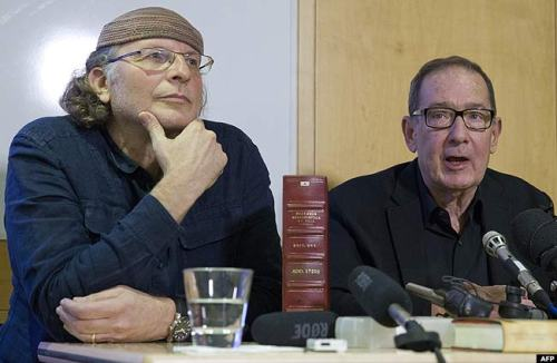 Israeli-Canadian author Simcha Jacobovici (L) and professor Barrie Wilson (R) attend a press conference for the launch of the book