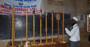 Mr Masudi Mwinyi works on some of the fabricated laboratory apparatus