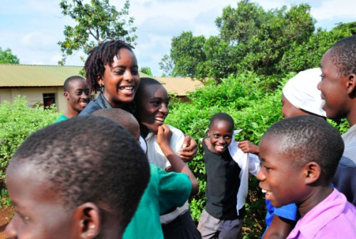 Sixteen-year-old Joannah Nahurira Bwomezi shares a light moment with youth of Namugongo Fund for Special Children. She uses her experience with the illness to encourage others and sensitise the public about epilepsy.