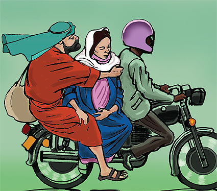 Mary and Joseph would have to hop onto a motorcycle (bodaboda) and endure a bumpy ride