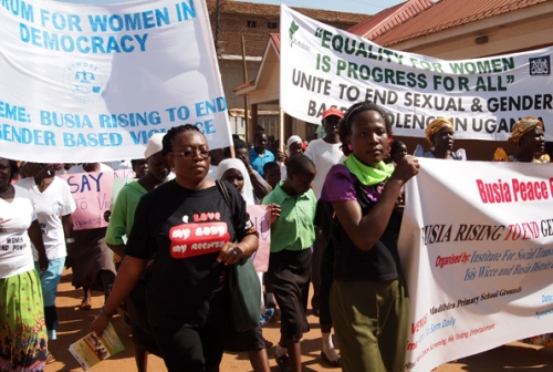 Women activists march during the peace exhibition against Gender-based Violence in Busia Town at the weekend.