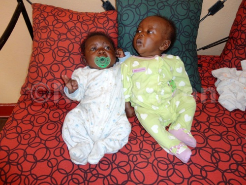 Two children who were rescued from a Karamojong woman by Police and  kept at Watoto Children's home