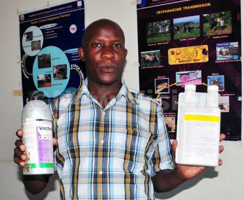 Agapitus Kato shows drugs used in tsetse flies traps to control tsetse flies.