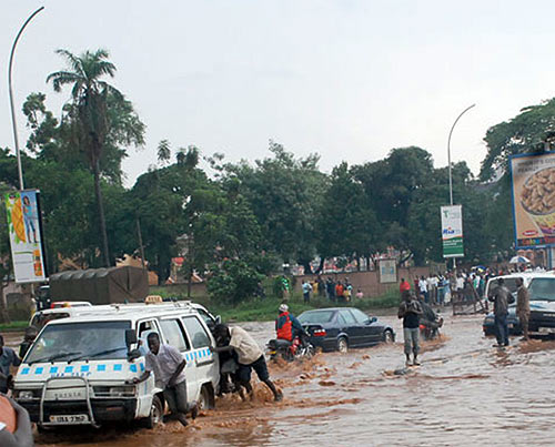 Floods in Kampala near Shoprite