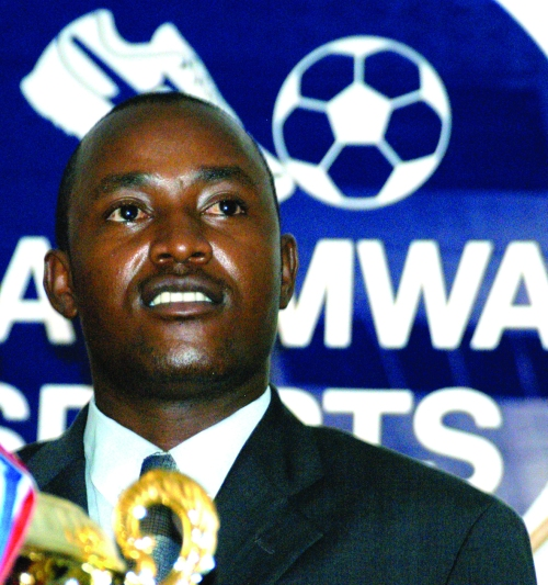David Katumwa, pictured here on October 30, 2003 at a press conference, where he unveiled a sh50m sponsorship package towards the Bika football tournament. (