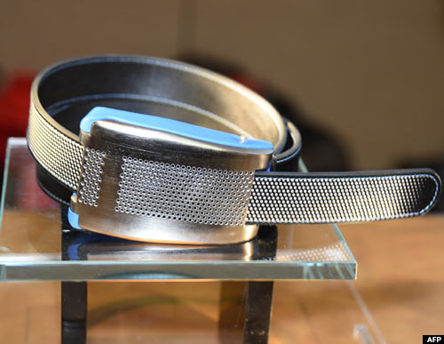 Belty, a smart belt from Paris-based Emiota, is displayed at CES Unveiled in Las Vegas, Nevada