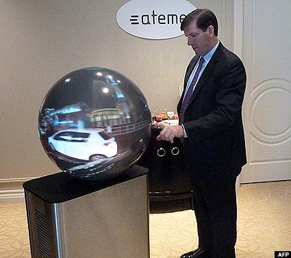 Ateme general manager Mike Antonovich demonstrates the LiveSphere 360-degree television system in Las Vegas, Nevada.