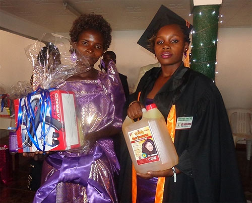 This graduand received a saloon kit including shampoo and a hair drier