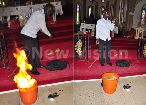 DIRTY TRICK: Jjemba showed the fire trick before a thrilled gathering inside the cathedral.