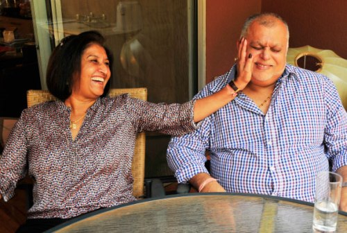 Joytsna and Sudhir Ruparelia share a light moment during the interview.