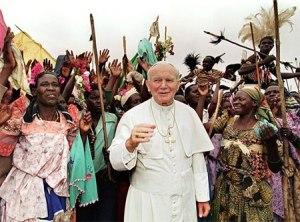 Pope Paul II with Ugandan catholic faithfuls in 1993