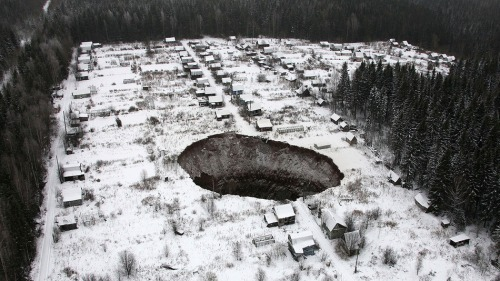 A view of a sinkhole, which stretches 20 meters by 30 meters, at the Solikamsk-2 mine in Russiaâ