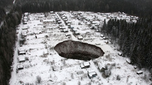 A view of a sinkhole, which stretches 20 meters by 30 meters, at the Solikamsk-2 mine in Russia's Perm region.