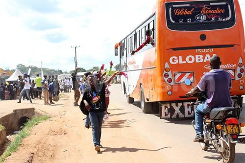 During the outreach, youth handed out condoms to the public . . . even those on this bus did not miss out.