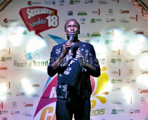 Ugandan stand-up comedian Daniel Omara cracks the crowd with his witty jokes.