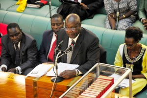 State minister for Internal Affairs James Baba (R) addressing MPs on Thursday. The Anti-Terrorism Bill expands existing anti-terror provisions to allow the authorities to confiscate funds and any property linked to terrorist activities. P