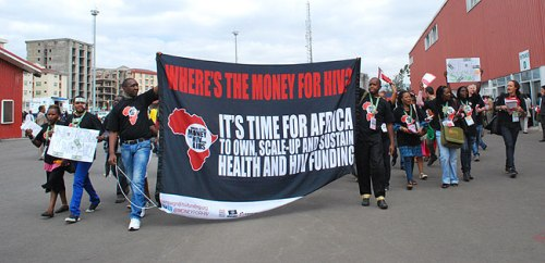 A group of African activists take to the streets in an HIV campaign