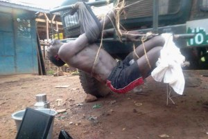 A suspected thief was seen beaten up seriously with both ears cut, tied on a UPDF lorry in Lira town File Photo