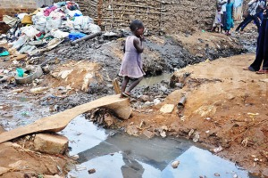Bad drainage is a major feature in Kampala slums