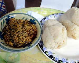 Pounded yam and egusi soup is a popular meal in Nigeria