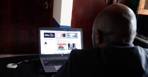 Mushabe busy at his office in Kamwokya, Kampala recently.