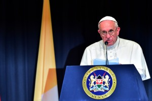Pope Francis delivers a speech at the State House of Nairobi on November 25, 2015.AFP PHOTO / GIUSEPPE CACACE
