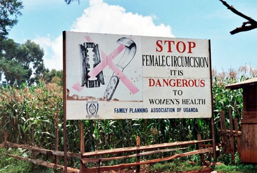 A billboard denouncing female genital mutilation