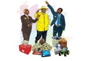 L-R: An illustration of Independent candidate Amama Mbabazi, NRM flag bearer Yoweri Museveni, and FDC's Kizza Besigye.